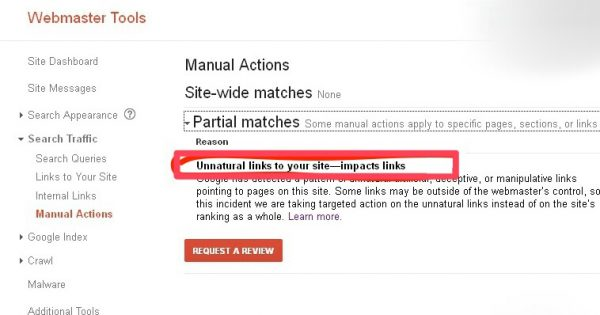 check your site is penalized by google manual actions