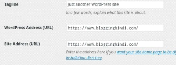 updare wordpress site URL address