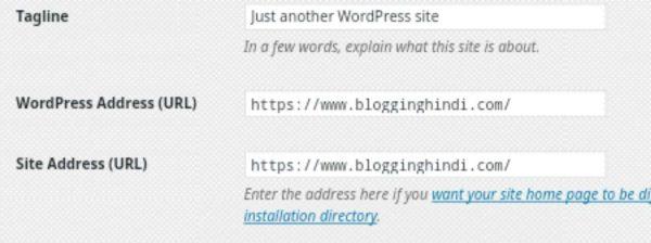 updare wordpress site URL address