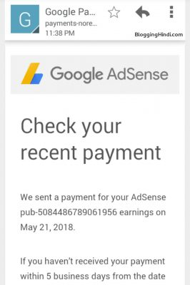 blogginghindi first adsense payment
