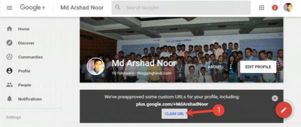 Google Plus Profile Me Custom URL Setup Kaise Kare 1