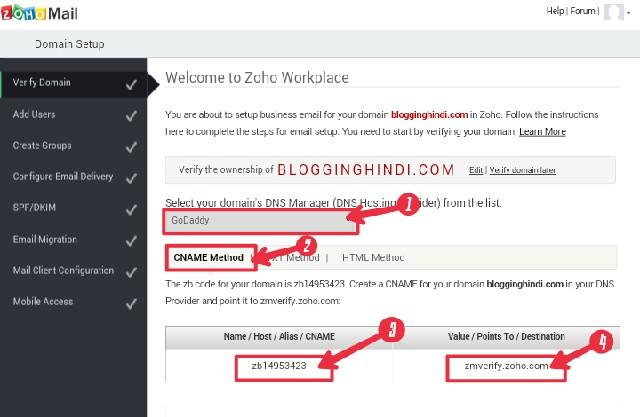 ZohoMail Par Custom Domain Se Free Professional Email Address Kaise Banaye 3