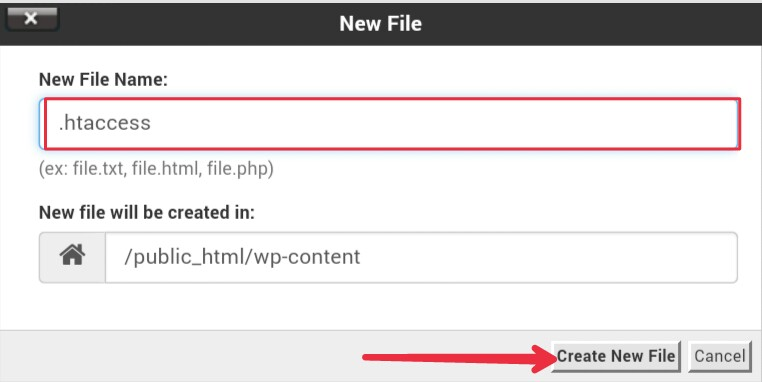 Create new folder in file manager of cPanel