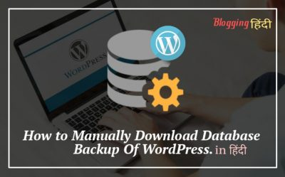 WordPress Blog Ke Database Ka Manually Backup Lene Ke 2 Tarike