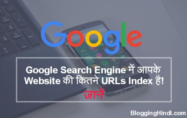 Kaise pata kare ki Apke Blog ki Kitne URLs Google me index show ho rahi hai.