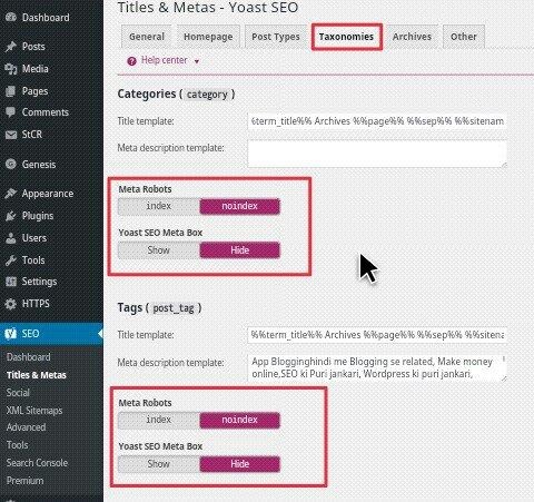 WordPress Categories Aur Tags Ko Search Engine Se Remove Kaise Kare 1