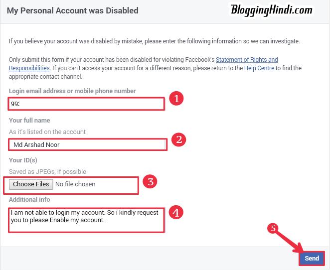 Reactivate facebook account form