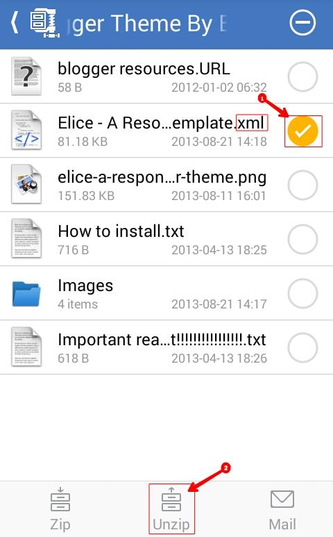 Blogger Template ko Zip File Se xml File me Convert kaise Kare - Mobile ya Computer se 2
