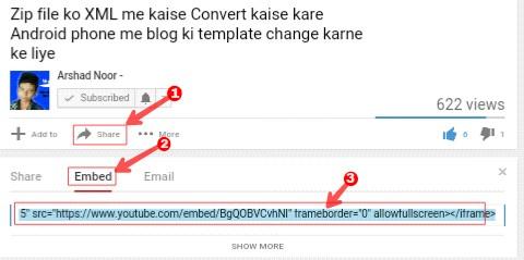 YouTube Video Ko Blog Post Me Kaise Add (embed) Kare 1