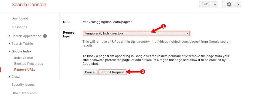 Google Se Blog Ki Kisi Bhi URL Link Ko Remove Kaise Kare 3