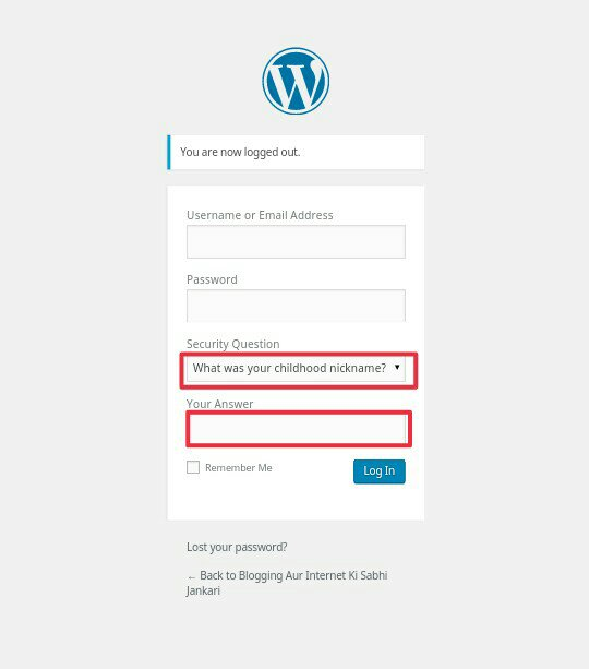 WordPress Login Page Me Security Question Kaise Add Kare 4